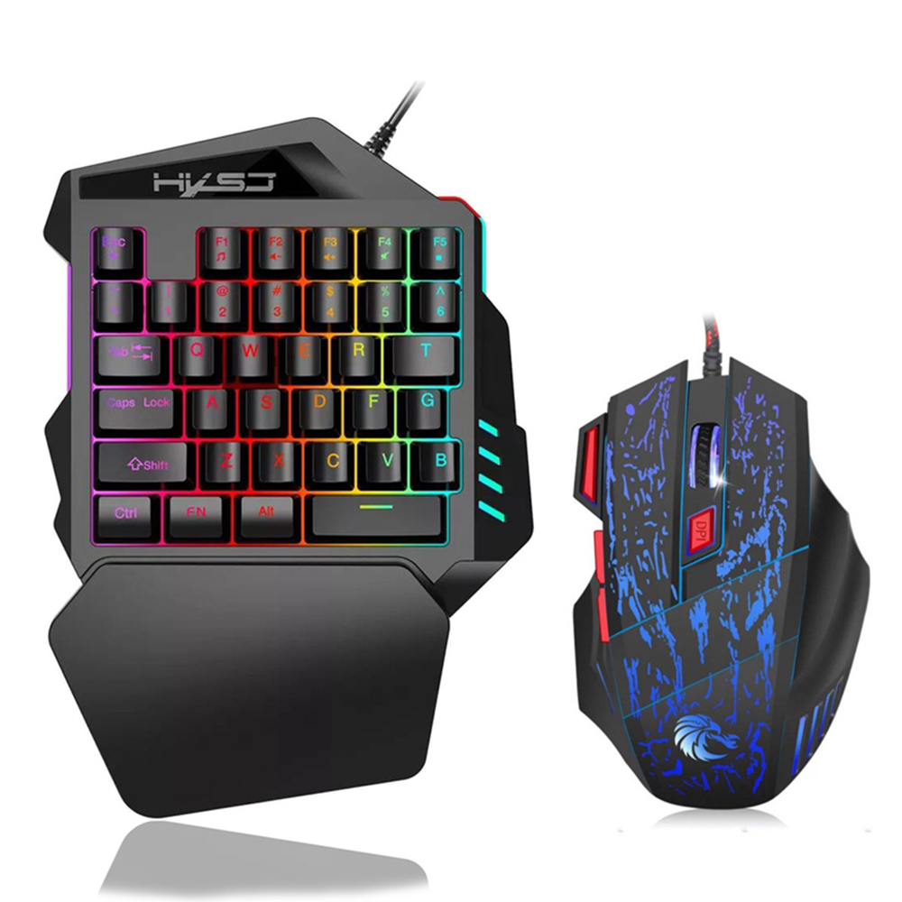 Willkey Mouse And Keyboard Kit Ergonomic Multicolor Backlight One-Handed Game Keyboard Mouse Set For Home Gamer Gaming