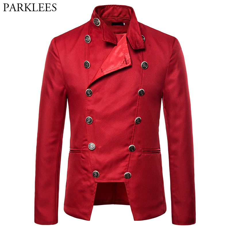 Men's Casual Slim Fit Pocket Irregular Double Breasted Suit Jacket Blazer 2019 Brand New Party Stage Prom Blazer Masculino Red
