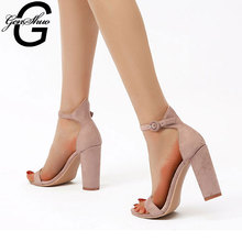 GENSHUO Women Thick Heel Sandals Female 2020 new Summer Rome Fashion Sandals Ankle Strap High Heeled Shoes Women Black Apricot new europe popular street beat rivet shoes high heeled catwalk sexy rome ankle buckle strap pu heel 12cm woman pumps 6368w