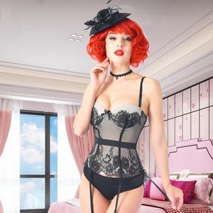 Image 3 - Women Sexy Corset Elasticity Underwear Erotic Transparent Lace Mesh Corset Top Sexy Lingerie Slim Waist Bustier Push Up Corselet