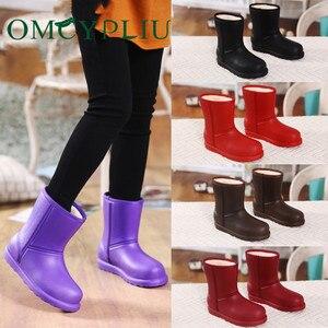 Image 1 - Bottes de neige femme 2019 hiver femmes bottine imperméable grande taille plat pluie chaussons garder au chaud dames chaussures coton Botas mujer