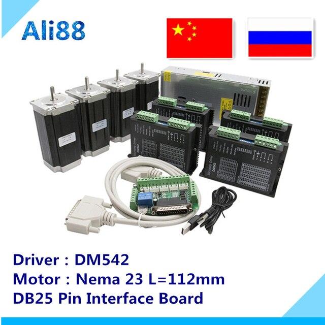 4 axis Nema 23 Stepper motor kit:nema23 motor 4 lead 3N.m+DM542 driver+ breakout board+350W 36v power supply CNC Router