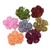 3.5cm Artificial Glitter Flowers Foam Rose Fake Flower Home Wedding Party Decoration DIY Scrapbooking Wreath Craft Gift Supplies