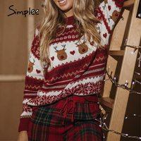 Simplee Weihnachten rot langarm frauen casual pullover herbst winter Tier design weibliche pullover Mode gestrickte pullover tops