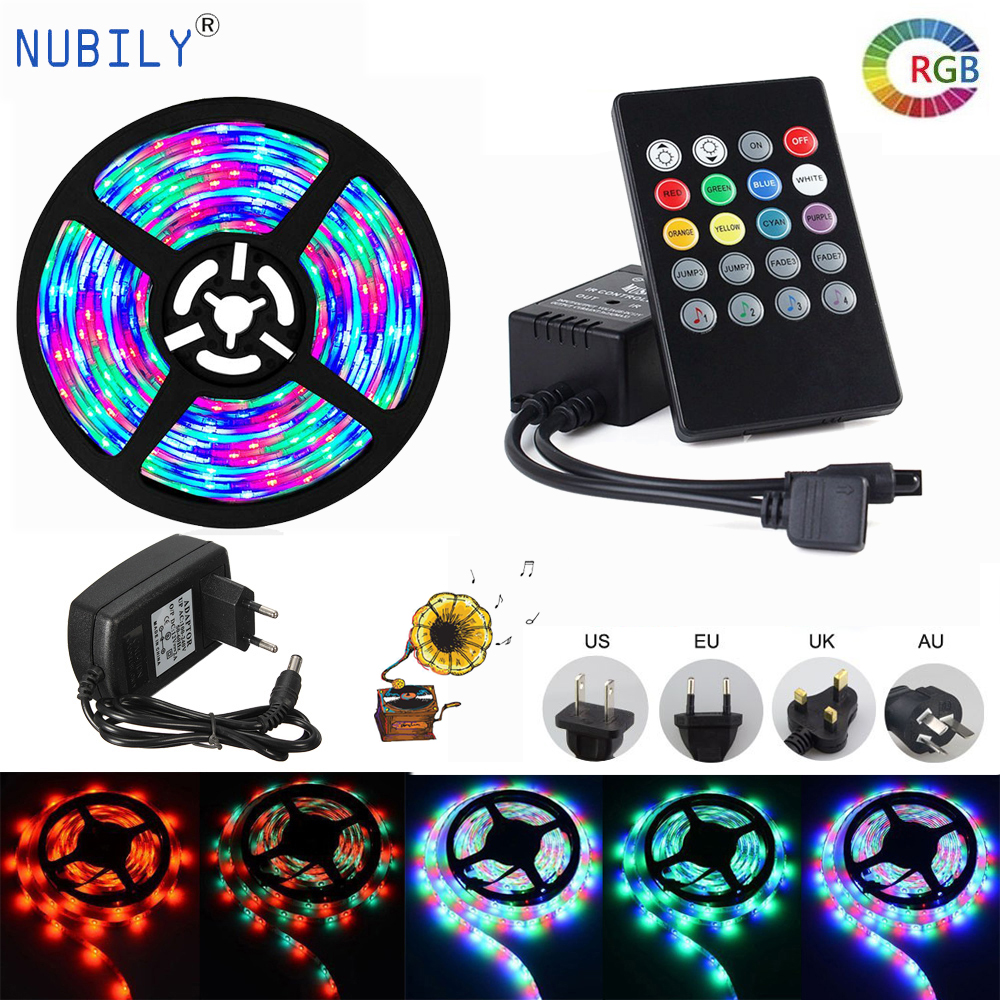 Music Sync Led Strip Rgb Diode Tape 2835 Waterproof Ip65 Party Light 10m 15m Rgb Ribbon With Led Remote Controller 12V Power