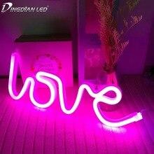 USB Creative Rainbow Led Neon Light Sign for Holiday Xmas Party Battery Wedding Decorations Kids Room Home Decor Flamingo