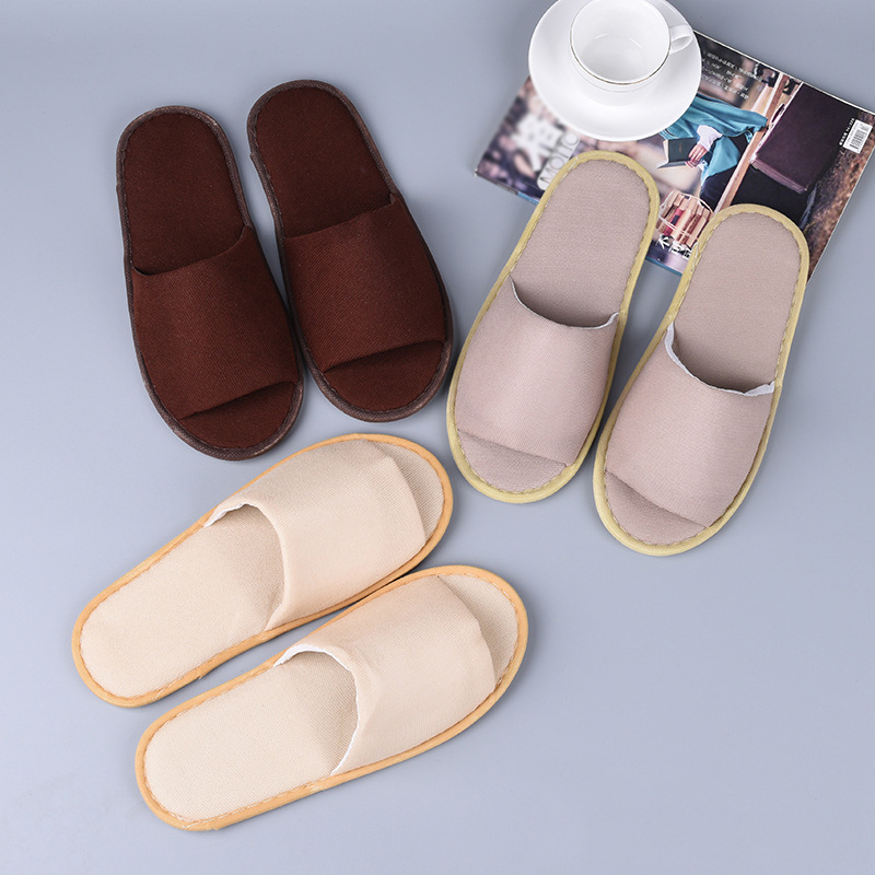 One-time Home Hospitality Non-slip Slippers Solid Color Cloth Disposable Breathable Flip Flop Indoor Soft Guest Slippers