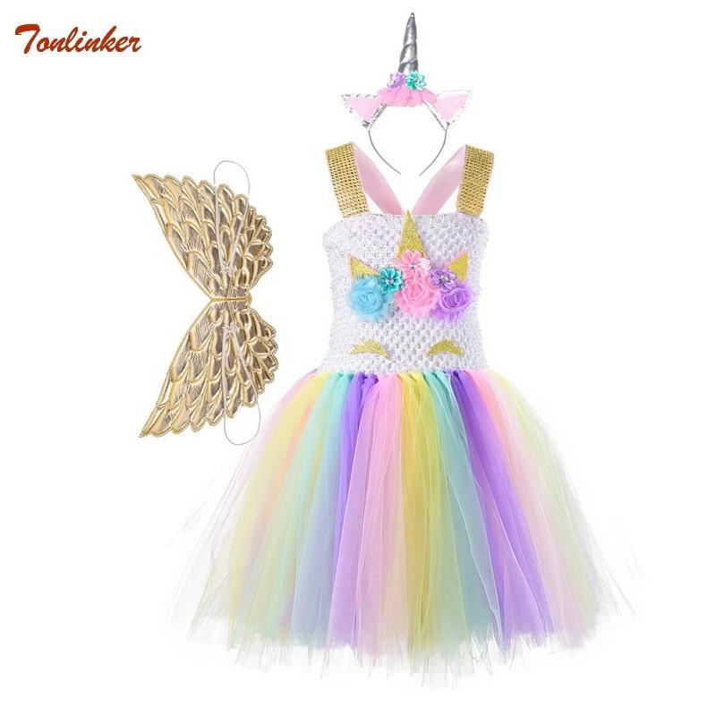Headband Outfit Kids Flower Girls Party Unicorn Tutu Tulle Fancy Dress Costume