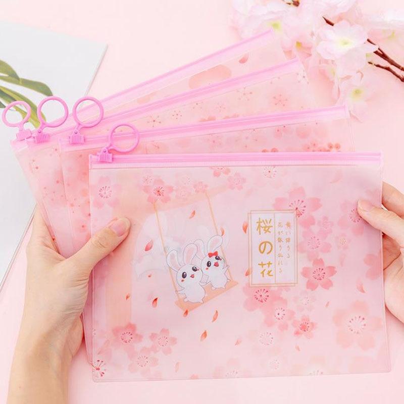 1 Pcs Lovely Cherry Blossoms Sakura Rabbit PVC Finger Ring Zipper File Folder Document Bags Stationery Storage Organizer Gifts