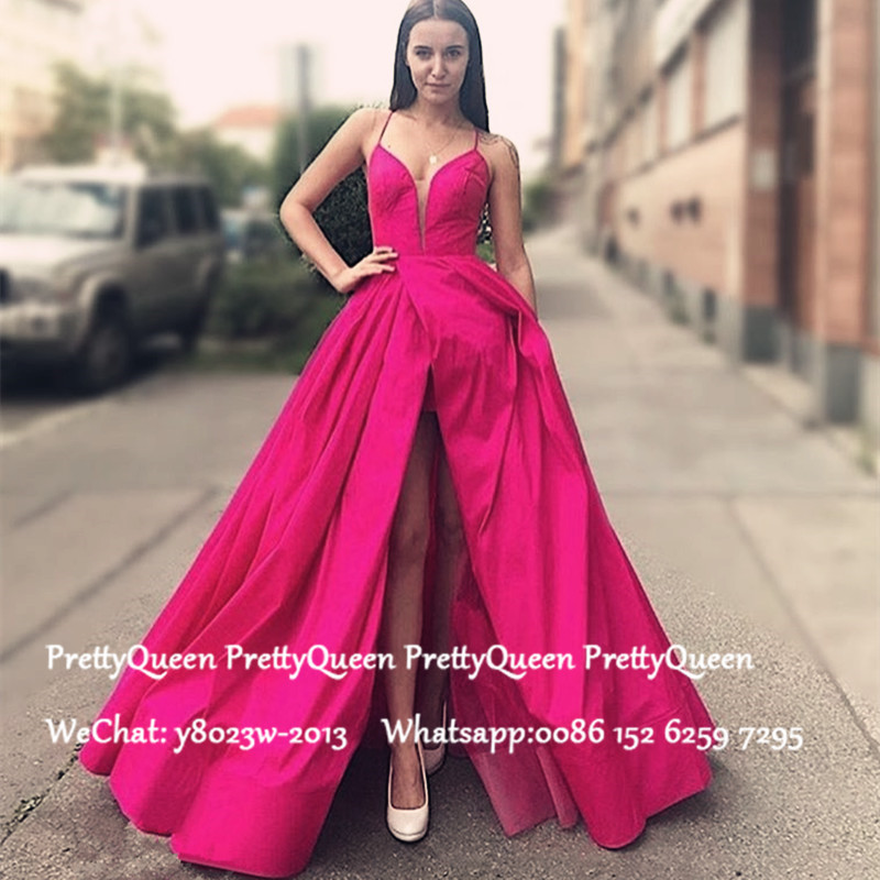 Fuchsia Satin Sexy Front Split Prom Dresses 2020 Spaghetti Strap A Line Evening Dress Celebrity Gown Vestido De Festa