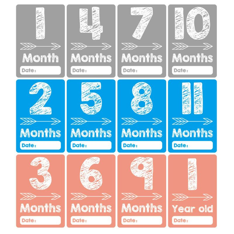 Baby Monthly Milestone Cards Photo Prop Age Cards Baby Shower Registry Gift G99C