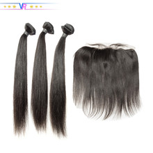 VR Star Quality Virgin Human Hair Bundles With Frontal 100% Virgin Hair Natural Black Brazilian Hair Weave Bundles