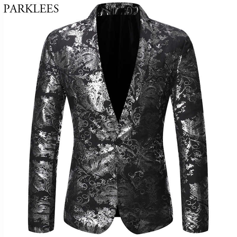 Silver Jacquard Blazer Men Notched Lapel Men Blazer Jacket Wedding Nightclub Show Dance Men Suit Jacket men Blazer Masculino USA
