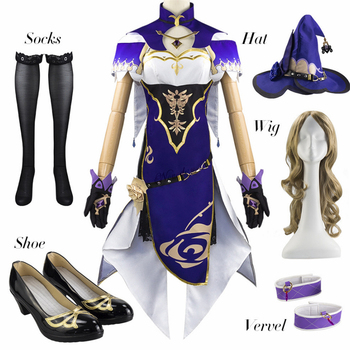 Anime Game Genshin Impact Lisa Witch of Purple Rose Cosplay Costume The Librarian Sexy Halloween Party Dress 1