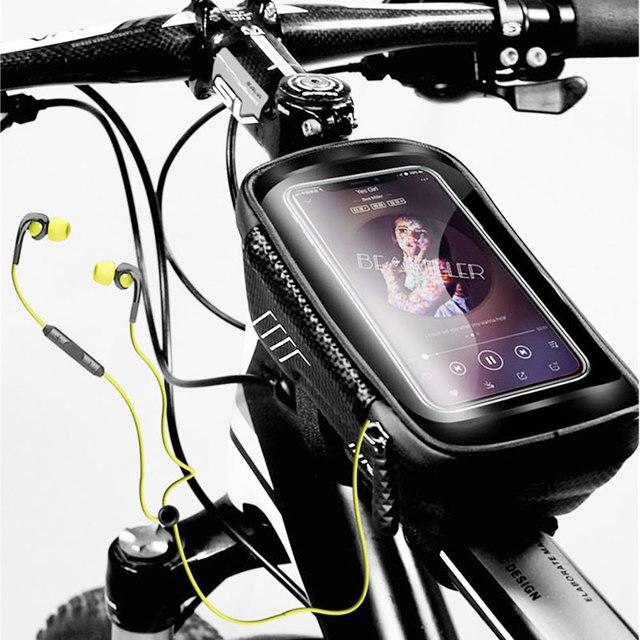 Saco de bicicleta frente à prova dwaterproof água ciclismo saco 6.2 polegada do telefone móvel bicicleta superior tubo guiador sacos mountain ciclismo acessórios 6