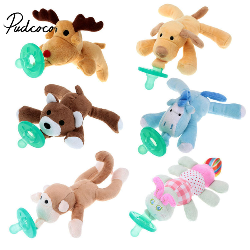 1Pcs Newborn Baby Boys Girl Cartoon Nipple Pacifier Toys Cute Infant Silicone Feeding Nipple Pacifiers Baby Animal Cuddly Plush