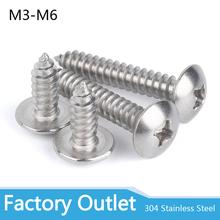 M3 M4 M5 M6 304 wkręty samogwintujące ze stali nierdzewnej okrągłe duże płaskie okrągłe głowy krzyż grzyb wkręty Phillips tanie tanio keepheart Maszyny do obróbki drewna Wkrętów samogwintujących STAINLESS STEEL M3 * 18 Poniżej 50 Sztuk M3 M4 M5 M6