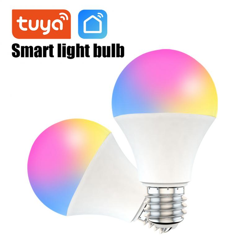 RGB Light Bulb With Tuya Wifi Control 9W Dimmable White Color Changing Light E27 LED Bulb Smart Life Work With Alexa/Google Home