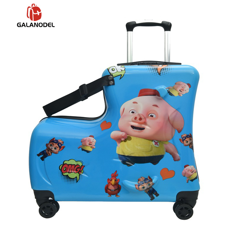 Children Suitcase With Wheels Carry-ons Rolling Luggage Cute Can Sit To Ride Travel Trolley Suitcase Kid Baby Gift Trunk Box Bag
