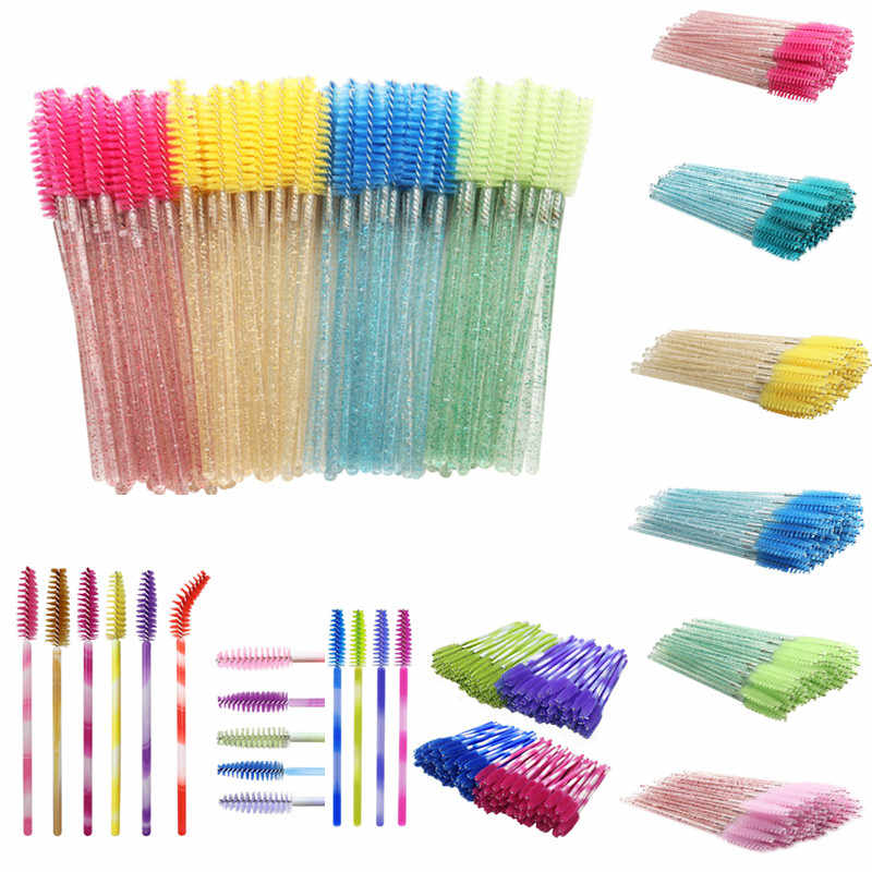 50 Stuks Wegwerp Make Up Kwasten Cosmetische Wimpers Crystal Wimper Borstels Diamant Applicator Eye Lash Mascara Wands Brush Tool