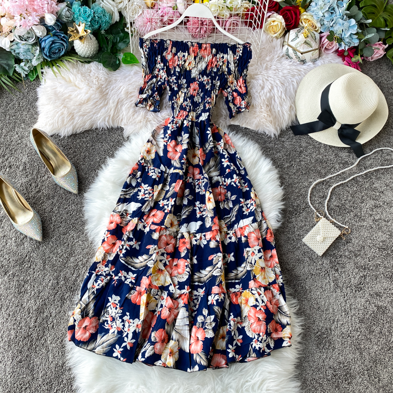 <font><b>Boho</b></font> vintage 2020 floral print <font><b>Sexy</b></font> Off Shoulder <font><b>dress</b></font> Summer midi long <font><b>Dress</b></font> Party Women <font><b>elegant</b></font> <font><b>beach</b></font> holiday tunic <font><b>dress</b></font> image