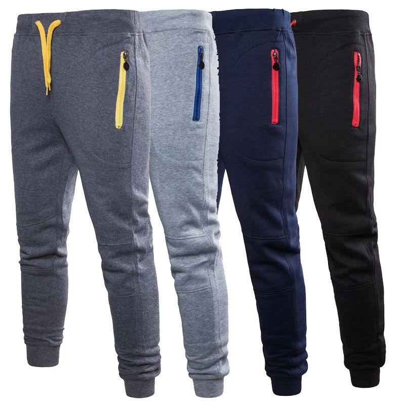 Men Pants Skinny Slim Fit Joggers Jogging Bottom Fleece Gym Pants Zip Pockets