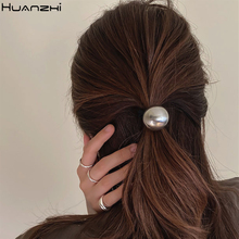 HUANZHI 2020 nowy modny metalowy kwadrat geometryczny okrągła kula obręcz do włosów gumka do włosów elastyczne włosy w koński ogon akcesoria do włosów dla kobiet dziewczyn tanie tanio CN (pochodzenie) Ze stopu cynku moda Z octanu celulozy Hairbands Kobiety TRENDY transparent GEOMETRIC