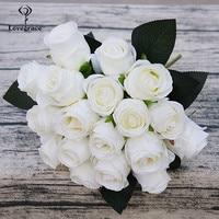 18 голов розы Искусственные цветы свадебный букет Шелк маленькая Роза голова искусственный букет для дома свадебный стол домашний Декор иск...