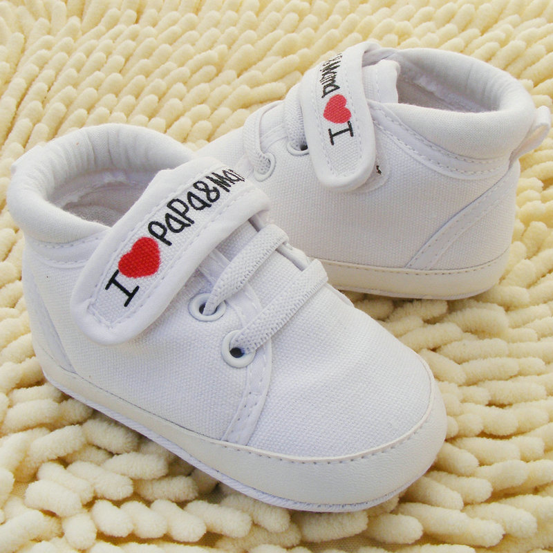 Newborn Baby Shoes I Love PaPa&MaMa Letter Printed Crib Shoes Soft Bottom Footwear Heart-shaped 0-18M First Walkers