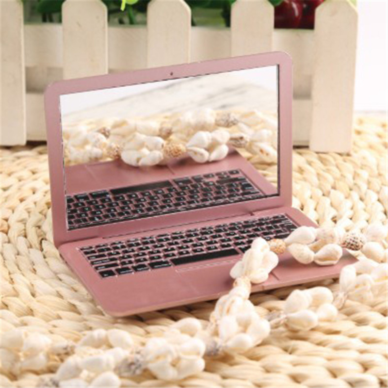 Cute Mini New Pocket Laptop Style Clear Glass Mirror Women Cosmetic Beauty Mirrors Fashion Notebook Form 2 Colors Optional