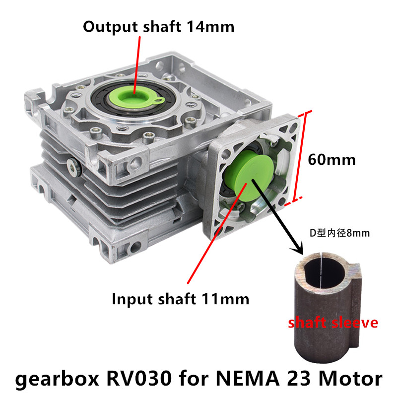 5:1 to 80:1 Worm Reducer RV030 Worm Gearbox Speed Reducer With Shaft Sleeve Adaptor for 8mm Input Shaft of Nema 23 <font><b>Motor</b></font> image