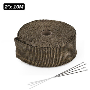 Image 3 - High Quality 5cm*5M 10M 15M Titanium/Black Exhaust Heat Wrap Roll for Motorcycle Fiberglass Heat Shield Tape with Stainless Ties