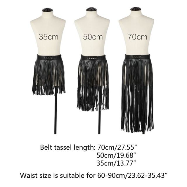 Women High Waist Faux Leather Fringe Tassels Skirt Body Harness with Snap Buttons Halloween Party Punk Rock Costume Clubwear 6