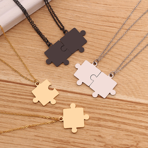 Couples Jigsaw Necklaces 2pcs/Set For Women Lover's Gold And Black Silver Color Puzzle Pendant Love Necklace Jewelry Gift(China)