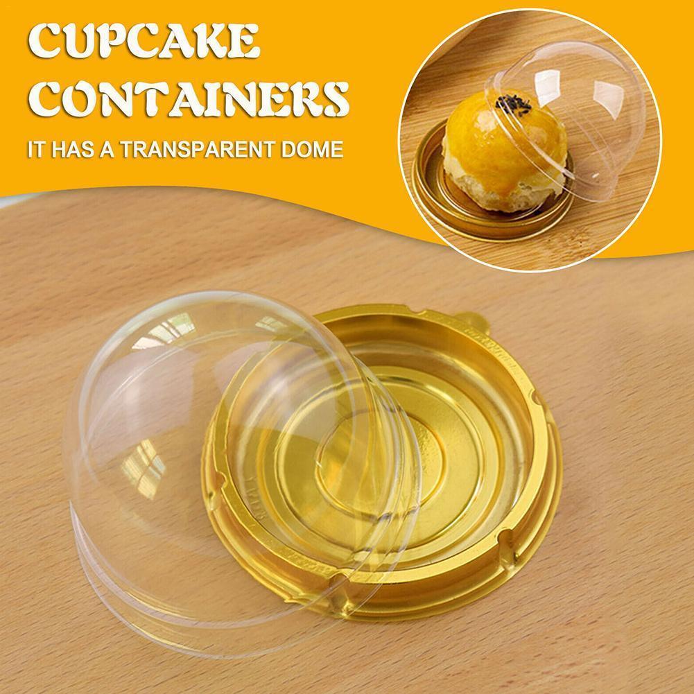 50Pcs Egg Tart Packaging Box Transparent Plastic Wedding Candy Box Round DIY Storage Candy Packaging Box