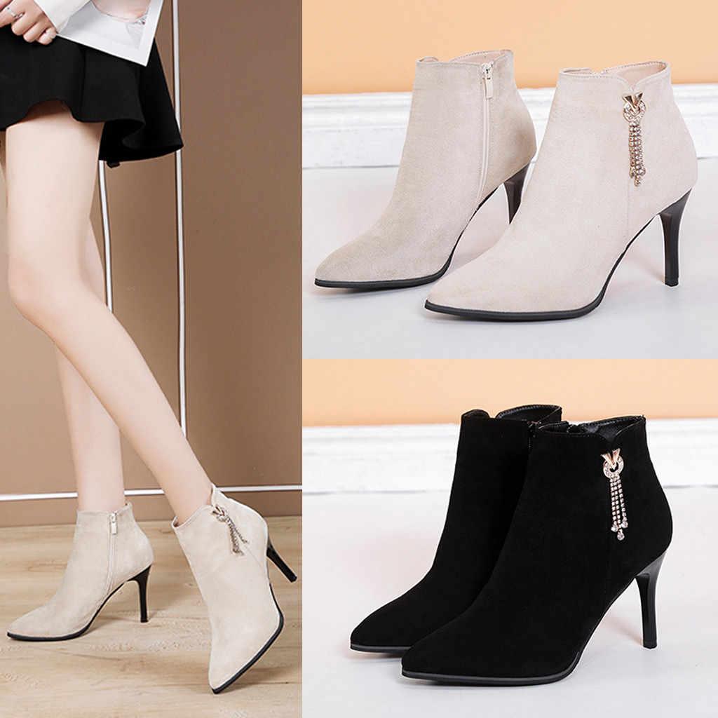 Botas de tobillo cortas de otoño invierno de moda para mujer, zapatos de tacón fino con punta puntiaguda, zapatos casuales con cremallera para mujer, botas de Chelsea