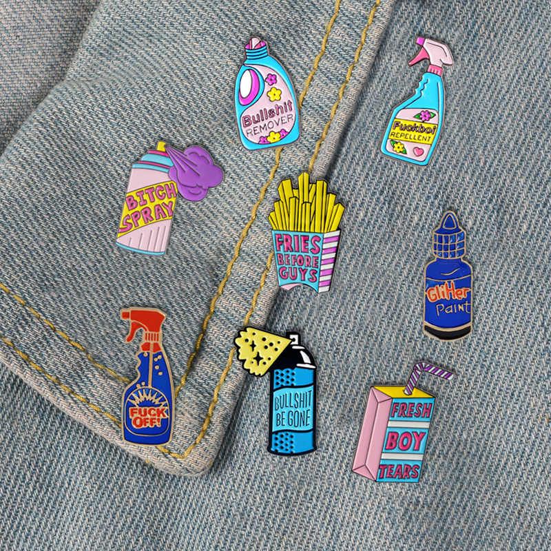 ลบ Bullshit สเปรย์เคลือบ Pins เครื่องมือทำความสะอาดตลกแฟชั่นเข็มกลัดป้ายกระเป๋าเสื้อผ้า Lapel Pins ของขวัญเครื่องประดับสำหรับเพื่อน