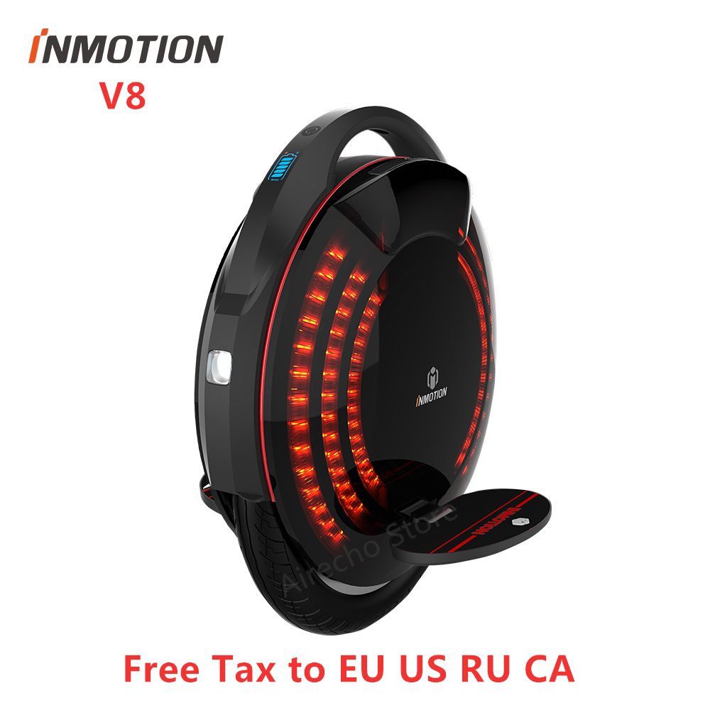 Original INMOTION V8 Unicycle Self Balancing Scooter With Decorative Lamps Monowheel One Wheel Electric Hover Skate Hover Board