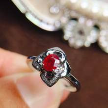 Ruby Ring Pure 18K Gold Jewelry Real Natural 0.46ct Red Ruby Diamonds Jewelry Anniversary Female's Rings for Women's Fine Rings(China)