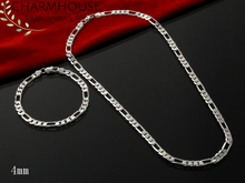 Charmhouse Silver 925 Jewelry Sets For Men 4mm Figaro Chain Bracelet & Necklace Mans 2pcs Accessories Party Gifts