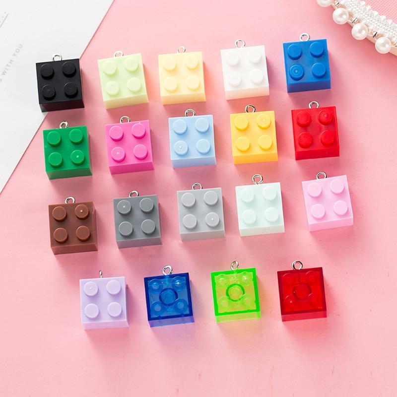 10Pcs/lot Mini Building Blocks Plastic Resin Cabochon With Hook DIY Jewelry Making Accessories Keychain Bag Pendant Phone Decor