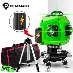 Nivel láser PRACMANU verde 12 líneas nivel 3D nivel autonivelante 360 Cruz Horizontal y vertical Nivel de láser verde súper potente