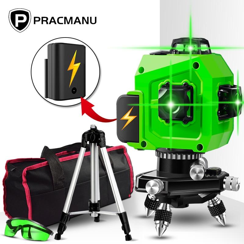 US $54.99 50% СКИДКА|PRACMANU лазерный 3D уровень, Самонивелирующийся лазерный уровень, горизонтальный и вертикальный|Лазерные уровни| |  - AliExpress