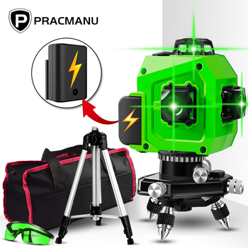 PRACMANU Laser Level Green 12 Lines 3D Level Self-Leveling 360 Horizontal And Vertical Cross Super Powerful Green Laser Level 12 lines 3d waterproof laser level self leveling 360 degrees rechargeable battery horizontal vertical cross green laser