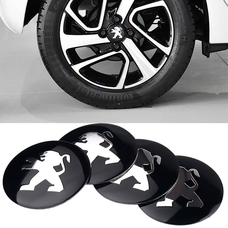 4Pcs Car Accessories 3D Tire Wheel Center Hub Caps Sticker Decals For Peugeot 107 108 206 207 308 307 508 2008 3008 Car Styling