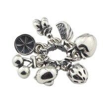 Grânulos de prata do encanto do urso do fruto 925 grânulos originais cabidos bracelete original da jóia do grânulo para fazer joias pingentes do grânulo