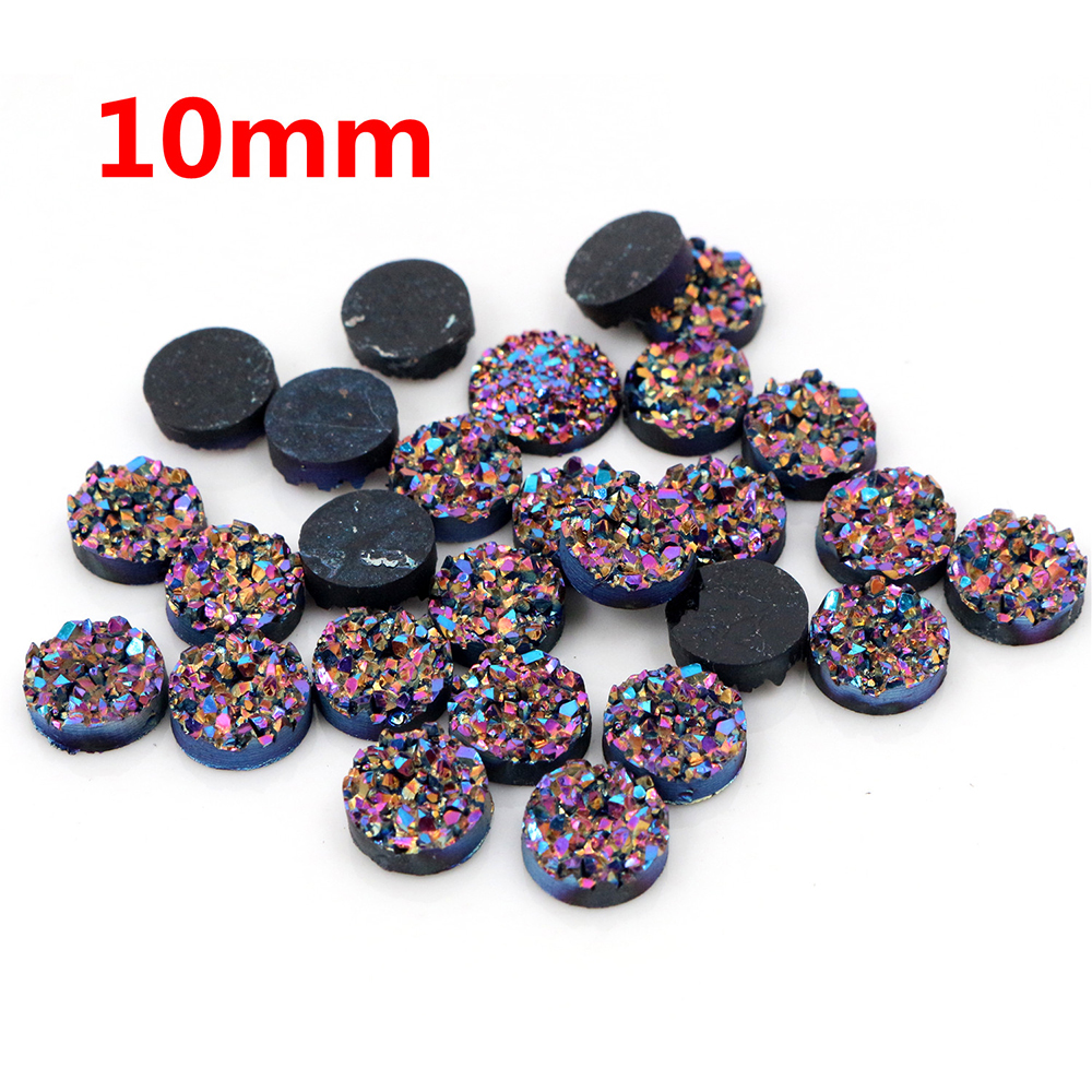 New Fashion 10mm 40pcs Dream Aurora Colors Natural Ore Style Flat Back Resin Cabochons For Bracelet Earrings Accessories-T3-04