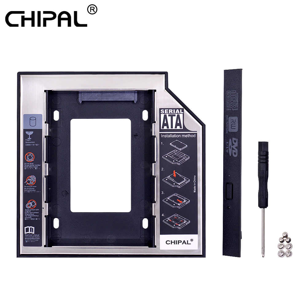 CHIPAL 2019 aluminium 2nd Second HDD Caddy 12.7mm SATA 3.0 Optibay 2.5 ''SSD DVD sterownik dysku twardego CD-ROM Adapter Case obudowa