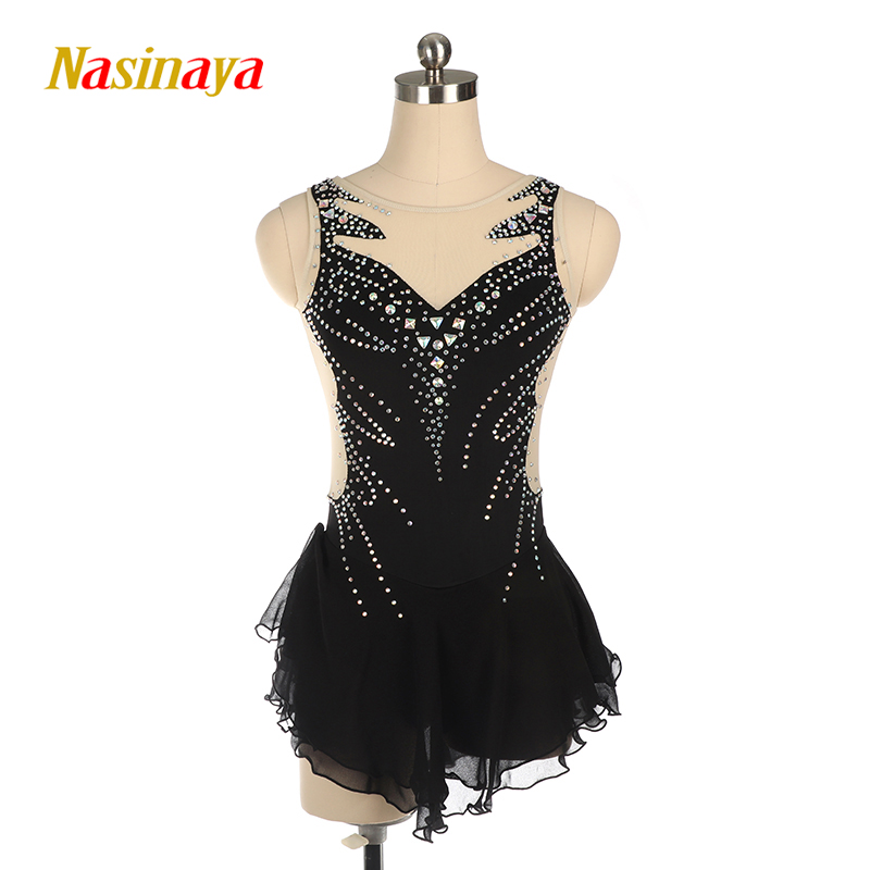 Nasinaya Figure Skating Dress Black Sleeveless Figure Skating Suit Girls And Women Skating Costume