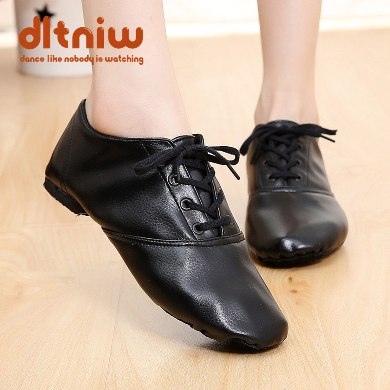 Women Men's Kids Sneakers Black PU Leather Lace-Up Jazz Chaussure Boots Split Outsoles Indoor Dancing Shoe Modern Dance Shoes